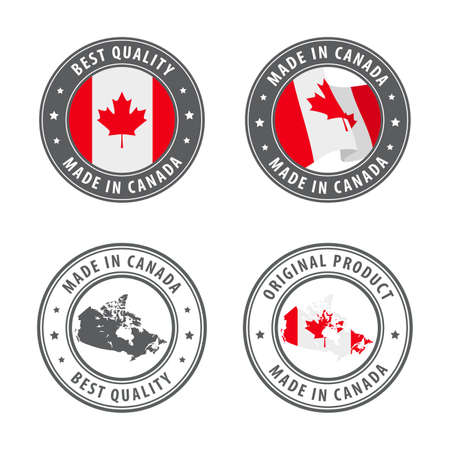 Made in Canada - set of labels, stamps, badges, with the Canada map and flag. Best quality. Original product. Vector illustration