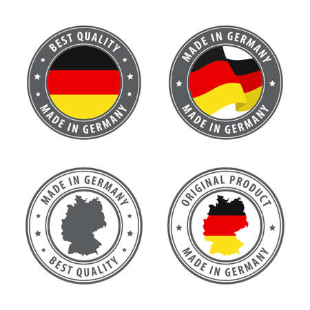 Made in Germany - set of labels, stamps, badges, with the Germany map and flag. Best quality. Original product. Vector illustration