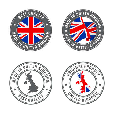 Made in United Kingdom - set of labels, stamps, badges, with the United Kingdom map and flag. Best quality. Original product. Vector illustration