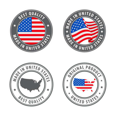 Made in United States - set of labels, stamps, badges, with the United States map and flag. Best quality. Original product. Vector illustration