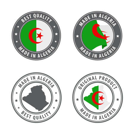 Made in Algeria - set of labels, stamps, badges, with the Algeria map and flag. Best quality. Original product. Vector illustration