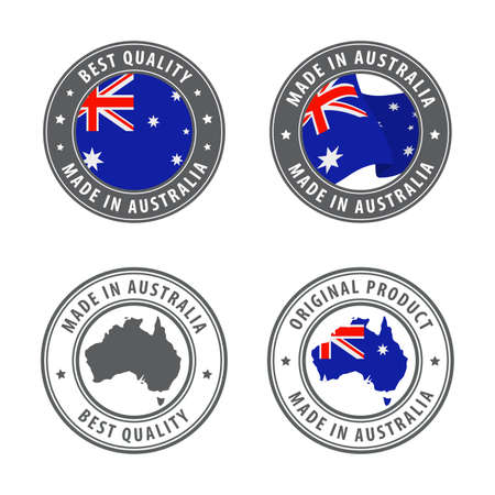 Made in Australia - set of labels, stamps, badges, with the Australian map and flag. Best quality. Original product. Vector illustration