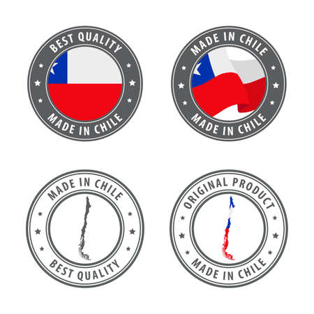 Made in Chile - set of labels, stamps, badges, with the Chile map and flag. Best quality. Original product. Vector illustration Illusztráció