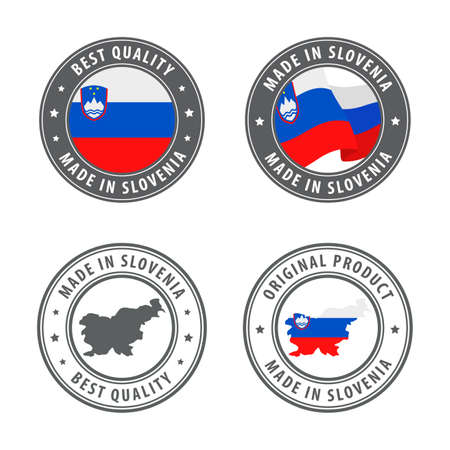 Made in Slovenia - set of labels, stamps, badges, with the Slovenia map and flag. Best quality. Original product. Vector illustration