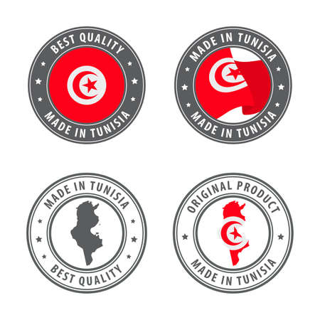 Made in Tunisia - set of labels, stamps, badges, with the Tunisia map and flag. Best quality. Original product. Vector illustration Illusztráció