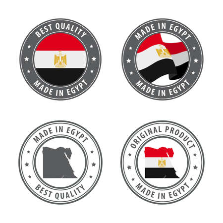 Made in Egypt - set of labels, stamps, badges, with the Egypt map and flag. Best quality. Original product. Vector illustration