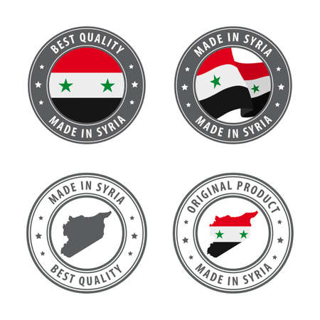 Made in Syria - set of labels, stamps, badges, with the Syria map and flag. Best quality. Original product. Vector illustration