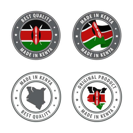 Made in Kenya - set of labels, stamps, badges, with the Kenya map and flag. Best quality. Original product. Vector illustration