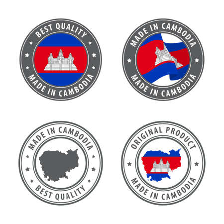 Made in Cambodia - set of labels, stamps, badges, with the Cambodia map and flag. Best quality. Original product. Vector illustration Illusztráció
