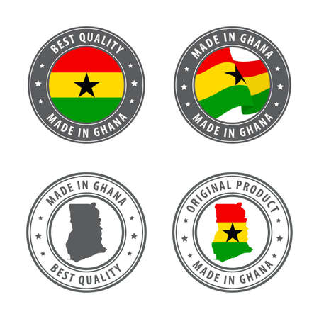Made in Ghana - set of labels, stamps, badges, with the Ghana map and flag. Best quality. Original product. Vector illustration