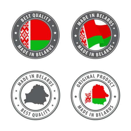 Made in Belarus - set of labels, stamps, badges, with the Belarus map and flag. Best quality. Original product. Vector illustration Illusztráció