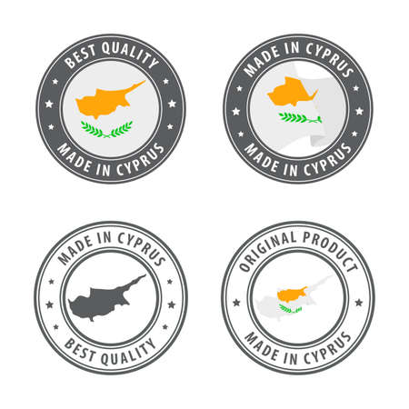 Made in Cyprus - set of labels, stamps, badges, with the Cyprus map and flag. Best quality. Original product. Vector illustration