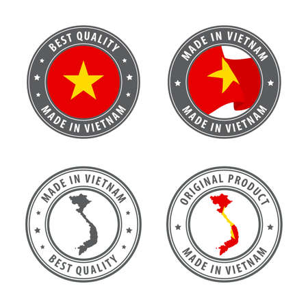 Made in Vietnam - set of labels, stamps, badges, with the Vietnam map and flag. Best quality. Original product. Vector illustration