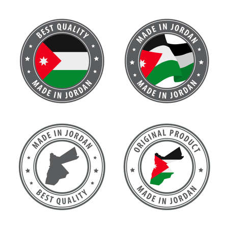 Made in Jordan - set of labels, stamps, badges, with the Jordan map and flag. Best quality. Original product. Vector illustration