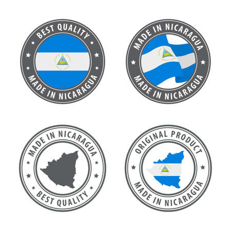 Made in Nicaragua - set of labels, stamps, badges, with the Nicaragua map and flag. Best quality. Original product. Vector illustration Illusztráció