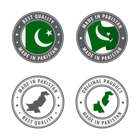 Made in Pakistan - set of labels, stamps, badges, with the Nicaragua map and flag. Best quality. Original product. Vector illustration