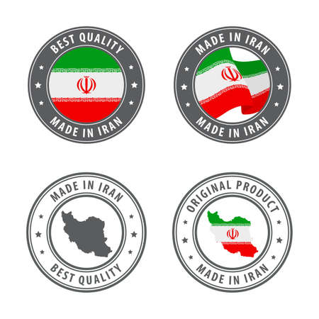 Made in Iran - set of labels, stamps, badges, with the Iran map and flag. Best quality. Original product. Vector illustration