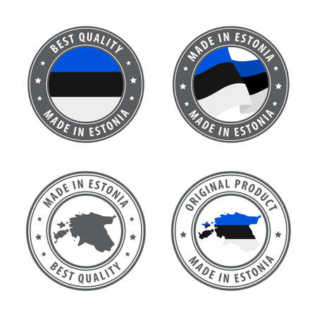 Made in Estonia - set of labels, stamps, badges, with the Estonia map and flag. Best quality. Original product. Vector illustration