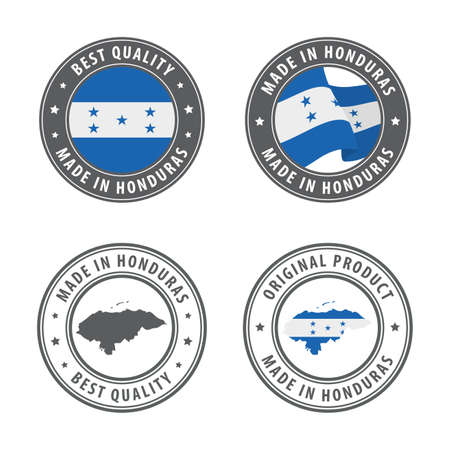 Made in Honduras - set of labels, stamps, badges, with the Honduras map and flag. Best quality. Original product. Vector illustration