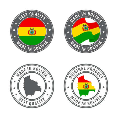 Made in Bolivia - set of labels, stamps, badges, with the Bolivia map and flag. Best quality. Original product. Vector illustration