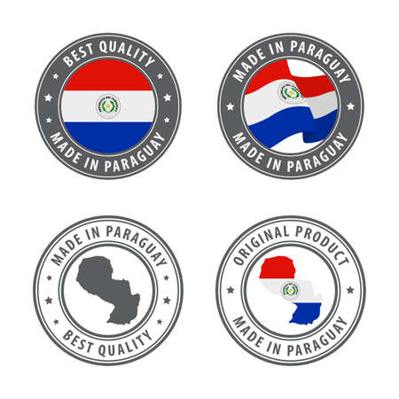 Made in Paraguay - set of labels, stamps, badges, with the Paraguay map and flag. Best quality. Original product. Vector illustration Illusztráció