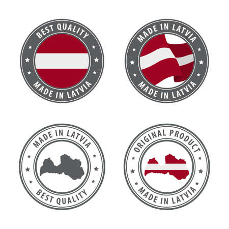 Made in Latvia - set of labels, stamps, badges, with the Latvia map and flag. Best quality. Original product. Vector illustration Illusztráció