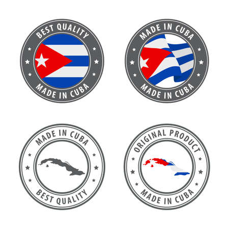 Made in Cuba - set of labels, stamps, badges, with the Cuba map and flag. Best quality. Original product. Vector illustration