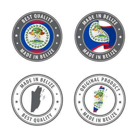 Made in Belize - set of labels, stamps, badges, with the Belize map and flag. Best quality. Original product. Vector illustration