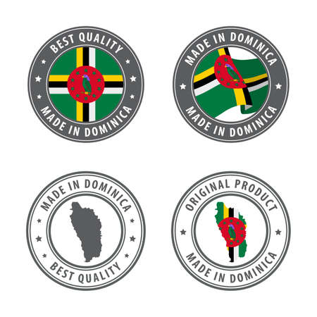 Made in Dominica - set of labels, stamps, badges, with the Dominica map and flag. Best quality. Original product. Vector illustration Illusztráció