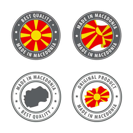 Made in Macedonia - set of labels, stamps, badges, with the Macedonia map and flag. Best quality. Original product. Vector illustration