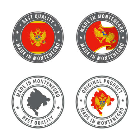 Made in Montenegro - set of labels, stamps, badges, with the Montenegro map and flag. Best quality. Original product. Vector illustration