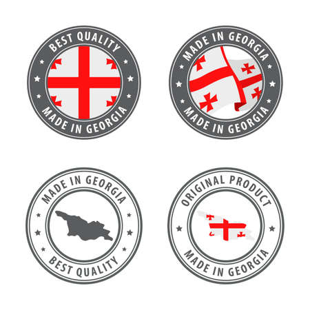 Made in Georgia - set of labels, stamps, badges, with the Georgia map and flag. Best quality. Original product. Vector illustration