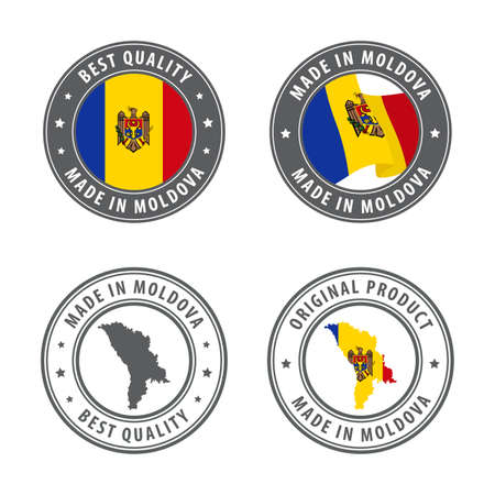 Made in Moldova - set of labels, stamps, badges, with the Moldova map and flag. Best quality. Original product. Vector illustration