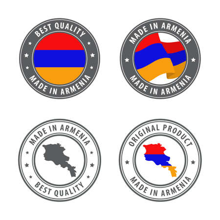 Made in Armenia - set of labels, stamps, badges, with the Armenia map and flag. Best quality. Original product. Vector illustration
