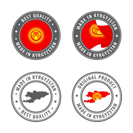 Made in Kyrgyzstan - set of labels, stamps, badges, with the Kyrgyzstan map and flag. Best quality. Original product. Vector illustration
