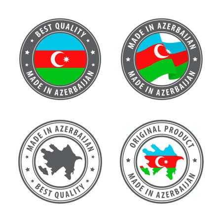 Made in Azerbaijan - set of labels, stamps, badges, with the Azerbaijan map and flag. Best quality. Original product. Vector illustration
