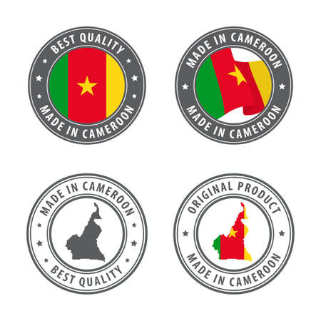 Made in Cameroon - set of labels, stamps, badges, with the Cameroon map and flag. Best quality. Original product. Vector illustration Illusztráció