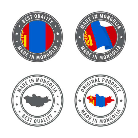 Made in Mongolia - set of labels, stamps, badges, with the Mongolia map and flag. Best quality. Original product. Vector illustration