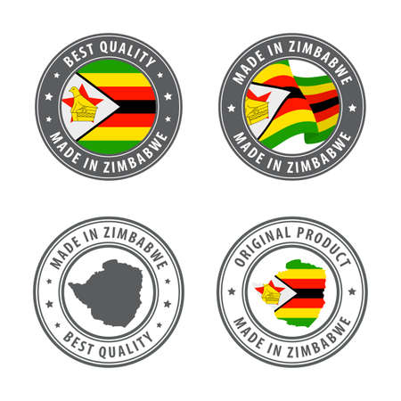 Made in Zimbabwe - set of labels, stamps, badges, with the Zimbabwe map and flag. Best quality. Original product. Vector illustration