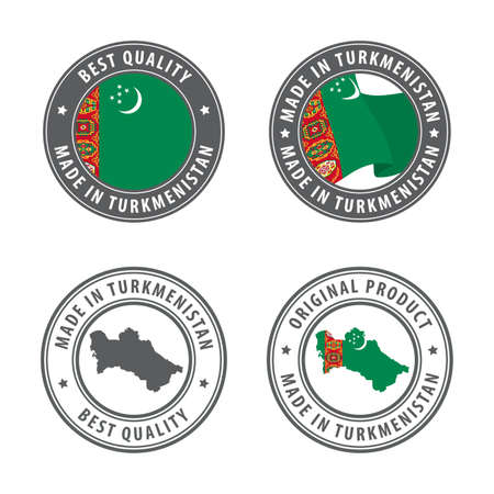 Made in Turkmenistan - set of labels, stamps, badges, with the Turkmenistan map and flag. Best quality. Original product. Vector illustration