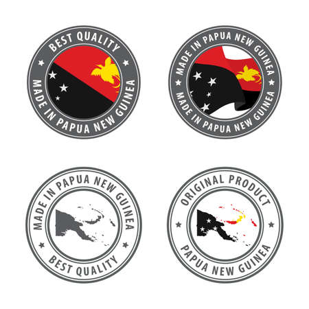 Made in Papua New Guinea - set of labels, stamps, badges, with the Papua New Guinea map and flag. Best quality. Original product. Vector illustration
