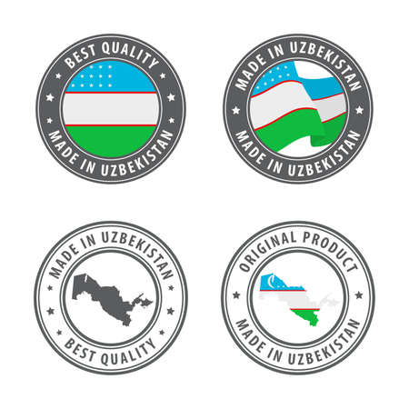 Made in Uzbekistan - set of labels, stamps, badges, with the Uzbekistan map and flag. Best quality. Original product. Vector illustration