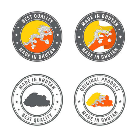 Made in Bhutan - set of labels, stamps, badges, with the Bhutan map and flag. Best quality. Original product. Vector illustration