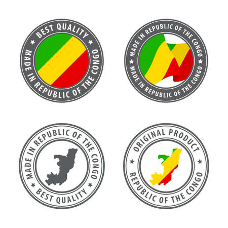 Made in Republic of the Congo - set of labels, stamps, badges, with the Republic of the Congo map and flag. Best quality. Original product. Vector illustration