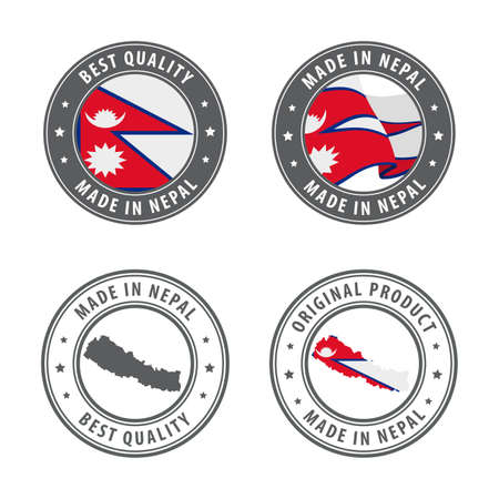 Made in Nepal - set of labels, stamps, badges, with the Nepal map and flag. Best quality. Original product. Vector illustration