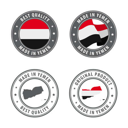 Made in Yemen - set of labels, stamps, badges, with the Yemen map and flag. Best quality. Original product. Vector illustration Illusztráció