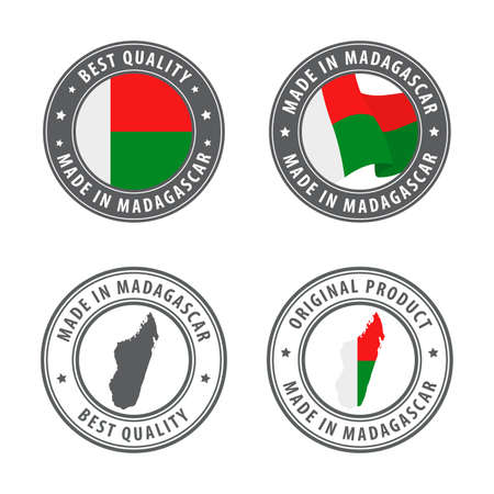 Made in Madagascar - set of labels, stamps, badges, with the Madagascar map and flag. Best quality. Original product. Vector illustration