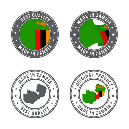 Made in Zambia - set of labels, stamps, badges, with the Zambia map and flag. Best quality. Original product. Vector illustration Illusztráció