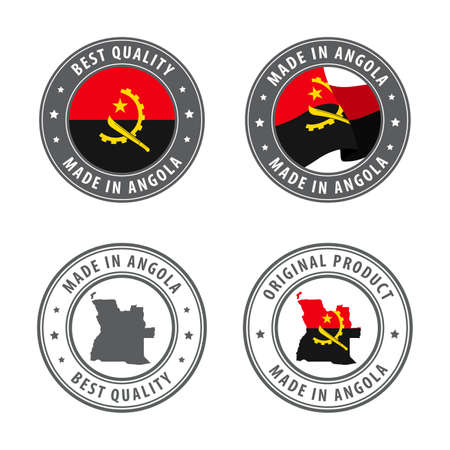 Made in Angola - set of labels, stamps, badges, with the Angola map and flag. Best quality. Original product. Vector illustration Illusztráció