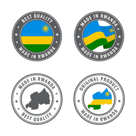 Made in Rwanda - set of labels, stamps, badges, with the Rwanda map and flag. Best quality. Original product. Vector illustration